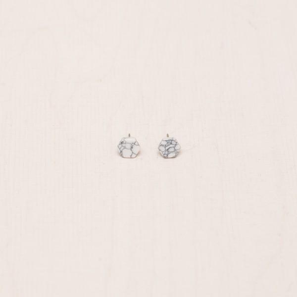 Earring Stud Hexagon Marble