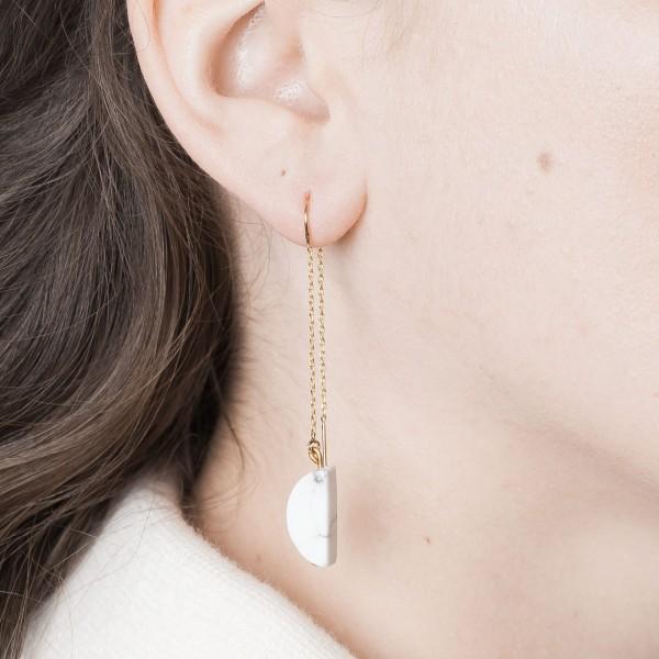 Thread Earring half Circle Gemstone