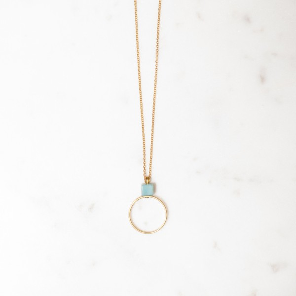 Necklace long Gem Cube and Brass Circle