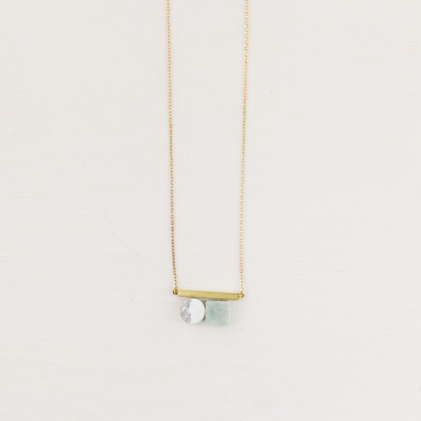 Necklace short Gem Tube asymmetrical small