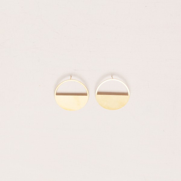 Earring Stud filled semi Circle