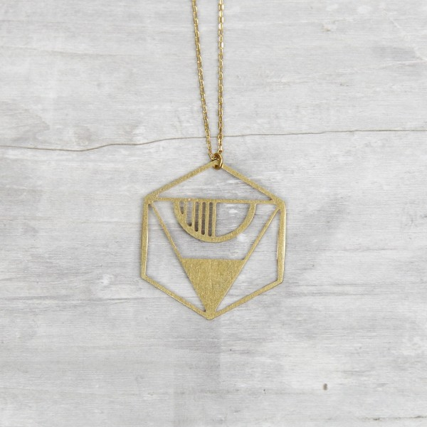 Necklace long Lasercut Hexagon
