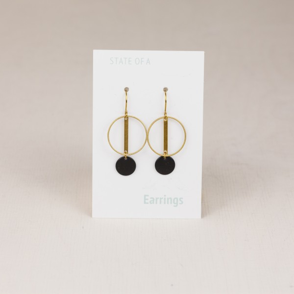 Earring Double Circle Black