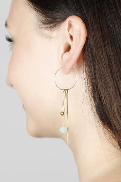 Hoop Earring framed Gemstone
