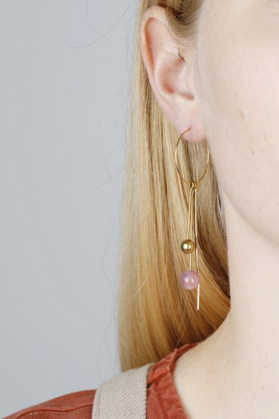 Hoop Earring dangling Gemstone