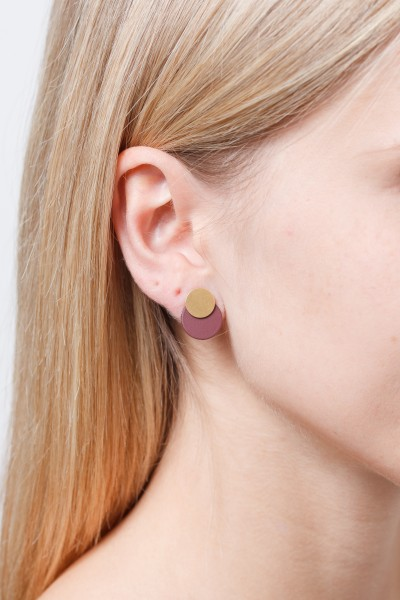 Studs matte Circle & Brass stud 2 in 1