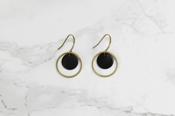 Earring Circle Black & Gold