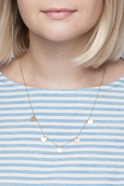Necklace short Circles with Hexagon or Circles