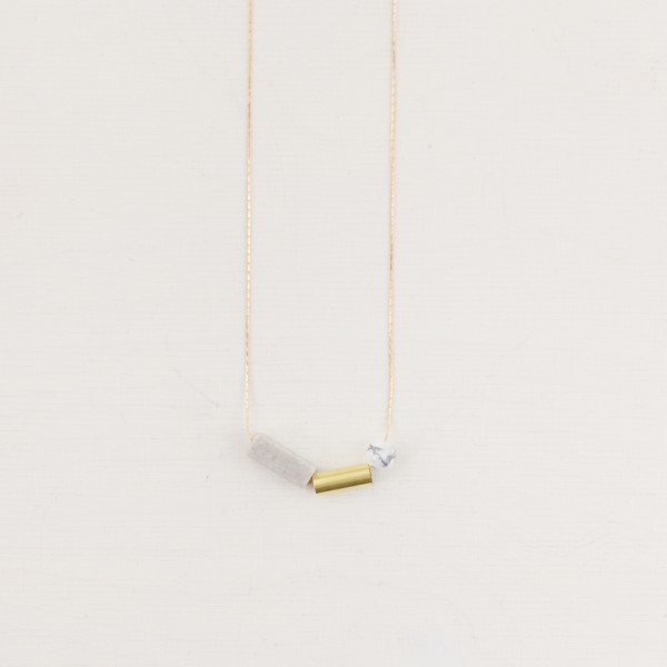 Necklace short Gem asymmetrical Marble