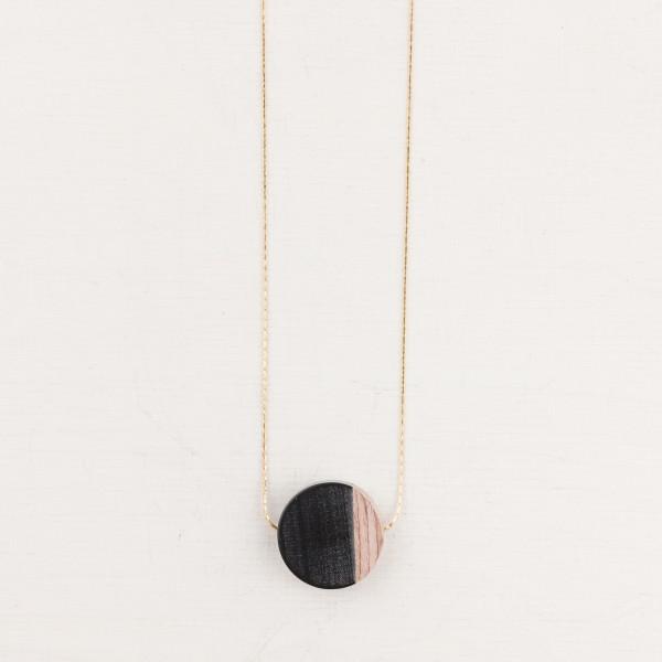 Necklace long Wood Circle