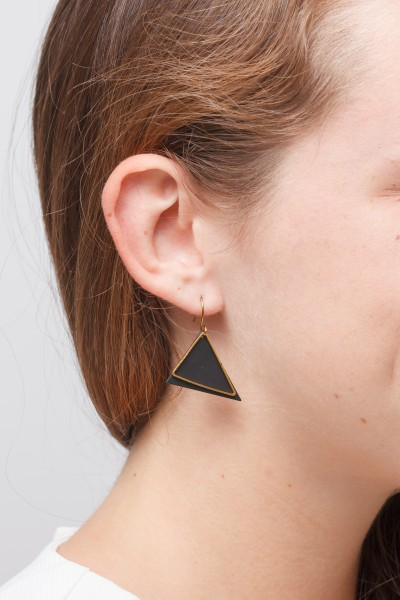 Earring Triangle Black & Gold