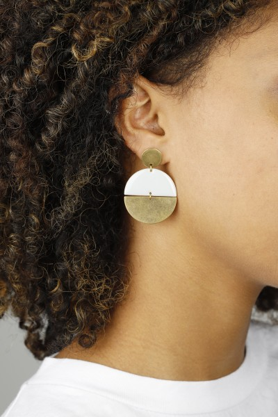 Earring Stud Enamel Semi Circle