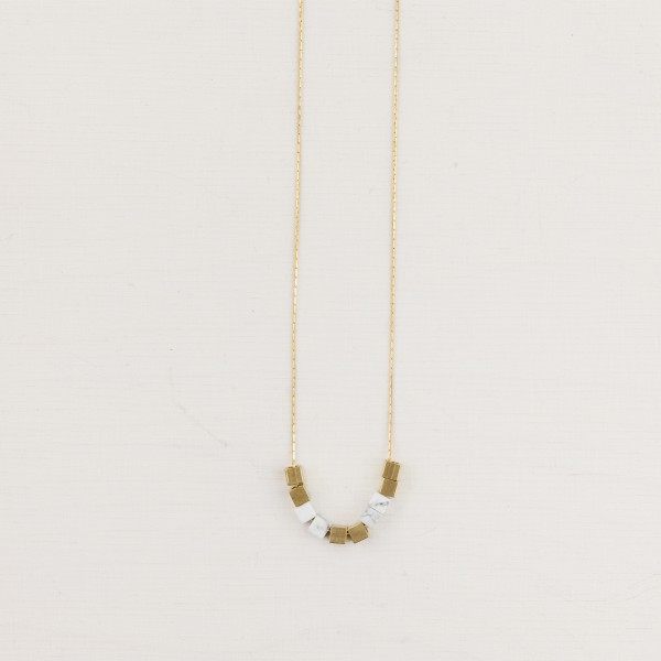 Necklace short Gem and Brass Cube