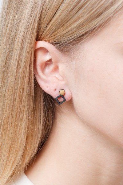 Earring Wooden Geometric Shapes