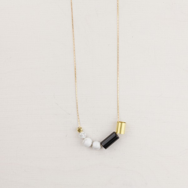 Necklace long Marble and Gem black