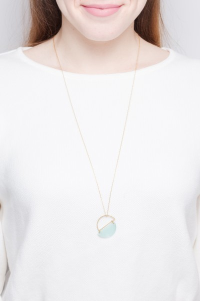 Necklace long Semi Circle asymmetrical
