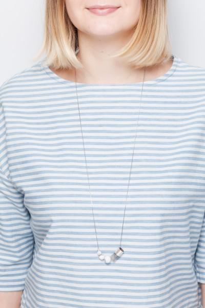 Necklace long silver asymmetrical Tube & Gem