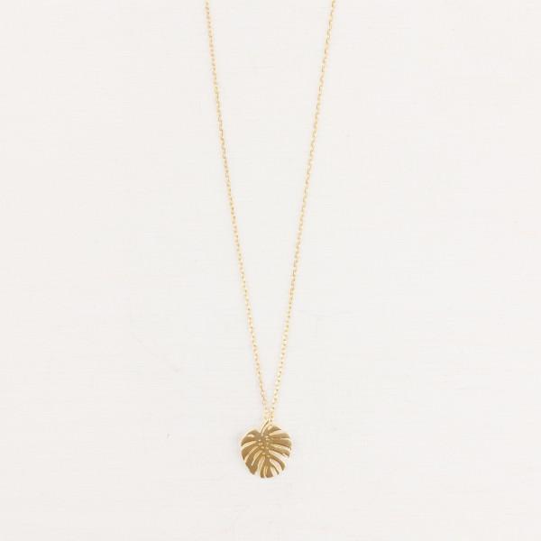 Necklace short Monstera Leaf