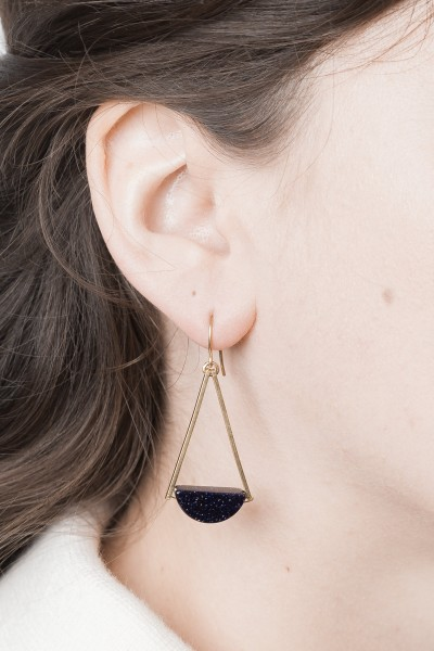 Earring Gemstone Black Sandstone Semi Circle