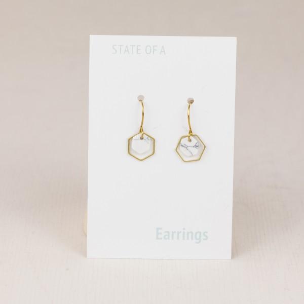Earring Hexagon Marble