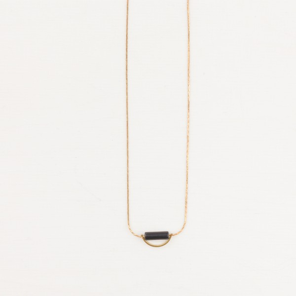 Necklace short Gem Semi Circle Tube