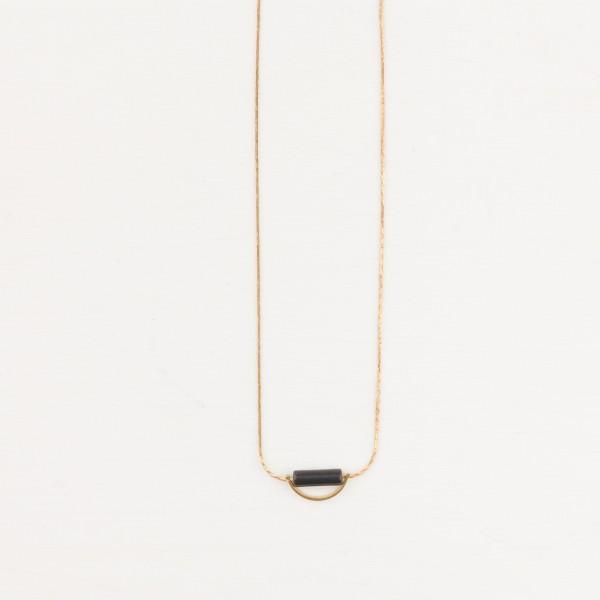 Necklace short Gem Semi Circle Tube