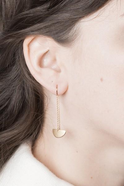 Thread Earring Semi Circle Silver or Brass