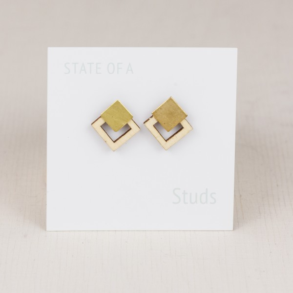 Earring Wooden Squares