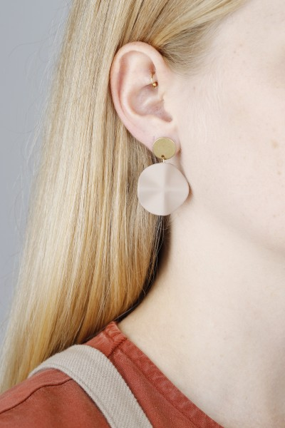 Earring Stud matte Coulours double Circle