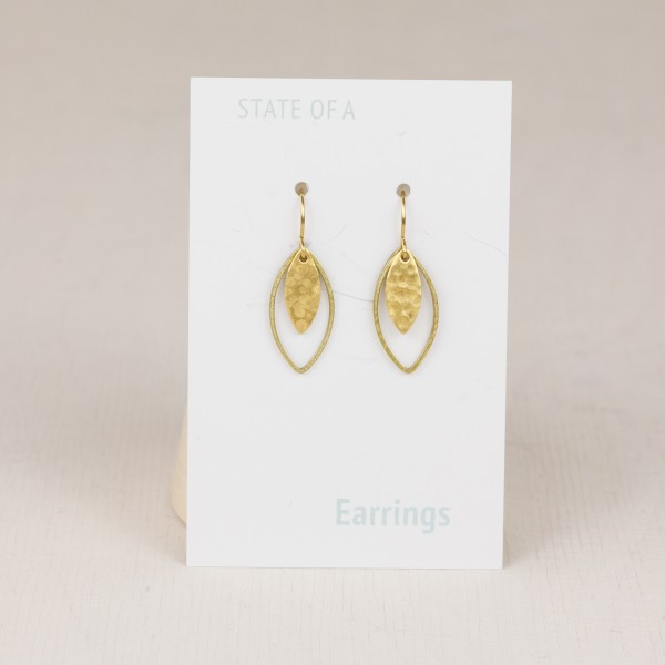 Earring Lotus Leaf hammered