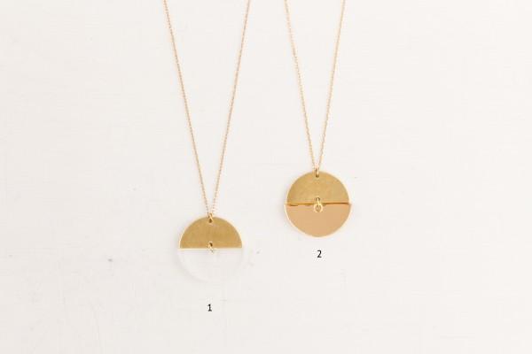 Necklace long Semi Circle Acrylic