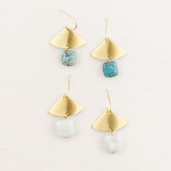 Earring Gemstone Fan & Square