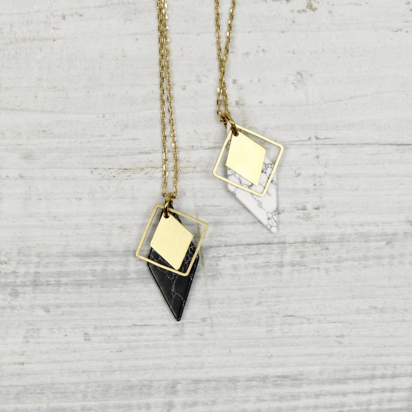 Necklace long Marble Rhombus