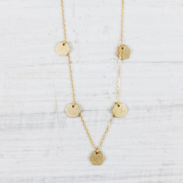 Necklace short mini Hexagon