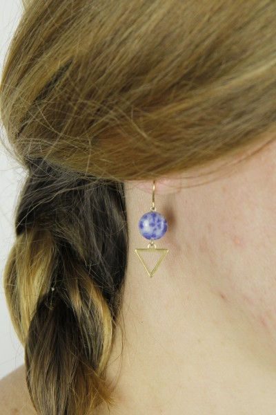 Earring Gemstone Coin & structured Triangle