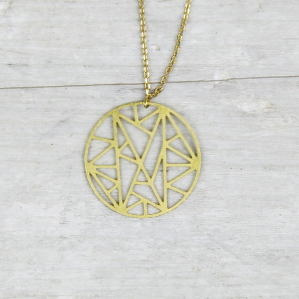 Necklace long Circle lasered
