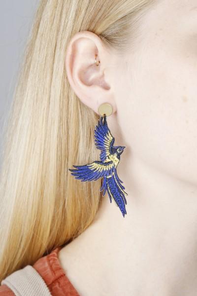 Earring Stud Bird Phoenix colourful