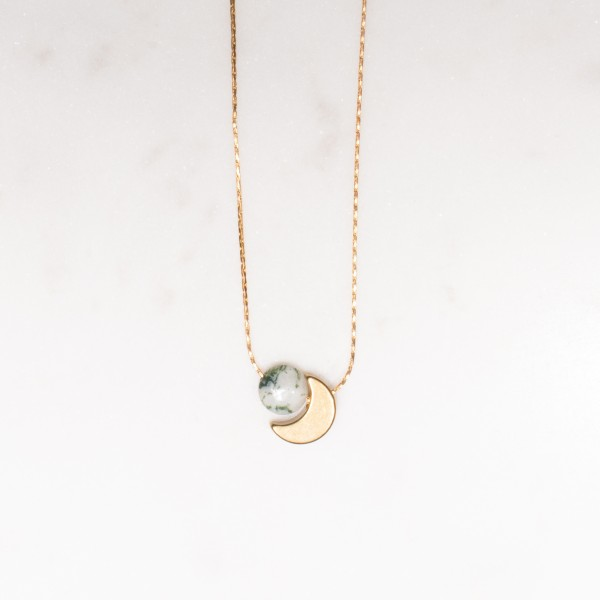 Necklace short Gemstone Moon