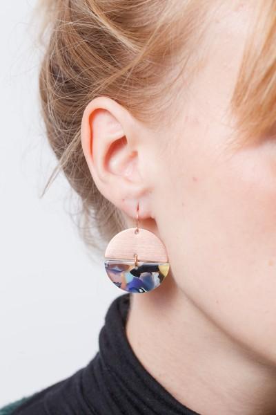 Earring semi Circle Copper Acrylic