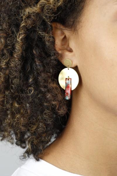 Earring hanging Brass & Acrylic