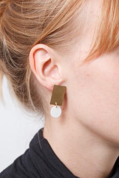 Earring matte Circle & Rectangle