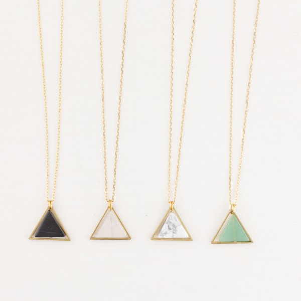 Necklace long Gem Triangle