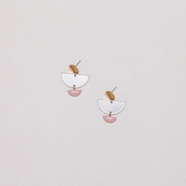 Earring Stud semi Circle Acrylic Enamel