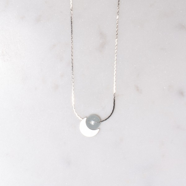 Necklace short Gem Silver Moon