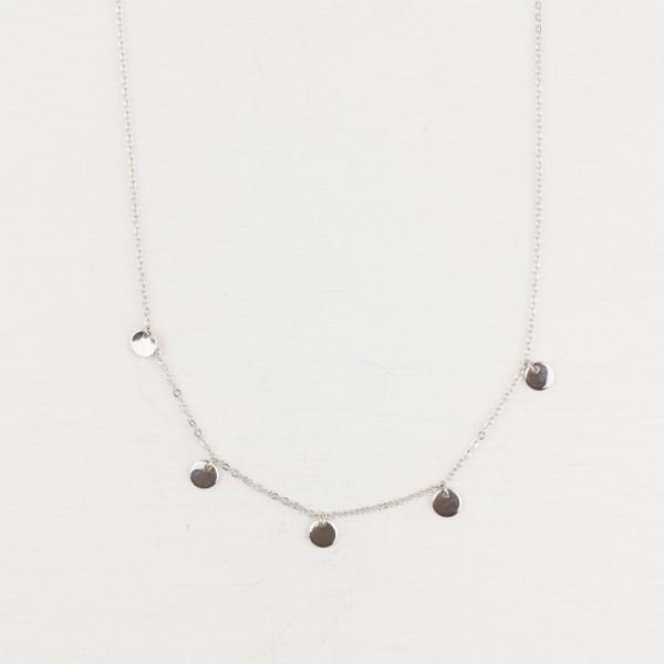 Necklace short mini Hexagons or Circles silver