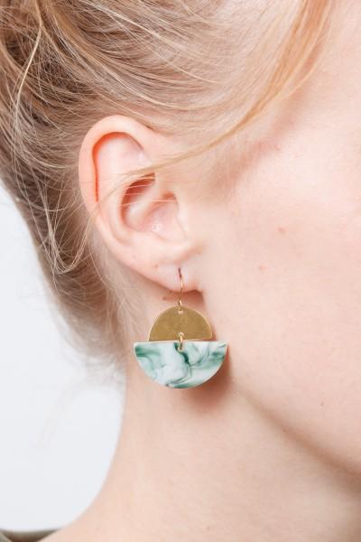 Earring semi Circle Brass Acrylic